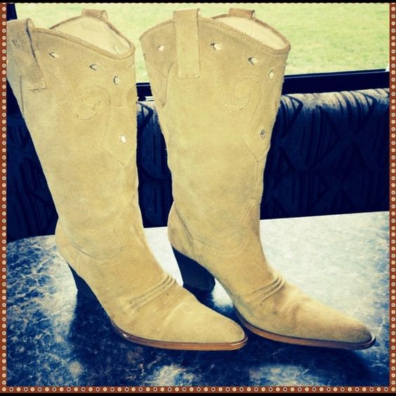 Penny ❤️ Kenny suede cowgirl boots These are some of the most beautiful boots I've ever seen!  I purchased these from another posher. I am having a country style wedding and was gonna wear them with my wedding dress but they are just to small for me. That's the only reason I'm selling them. They are a camel color suede with a pointy toe. Penny ❤️s Kenny Shoes