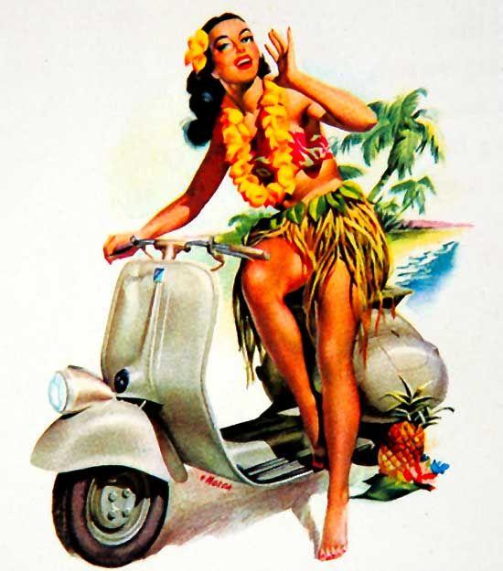 1950's Vespa Pin-Up Girl