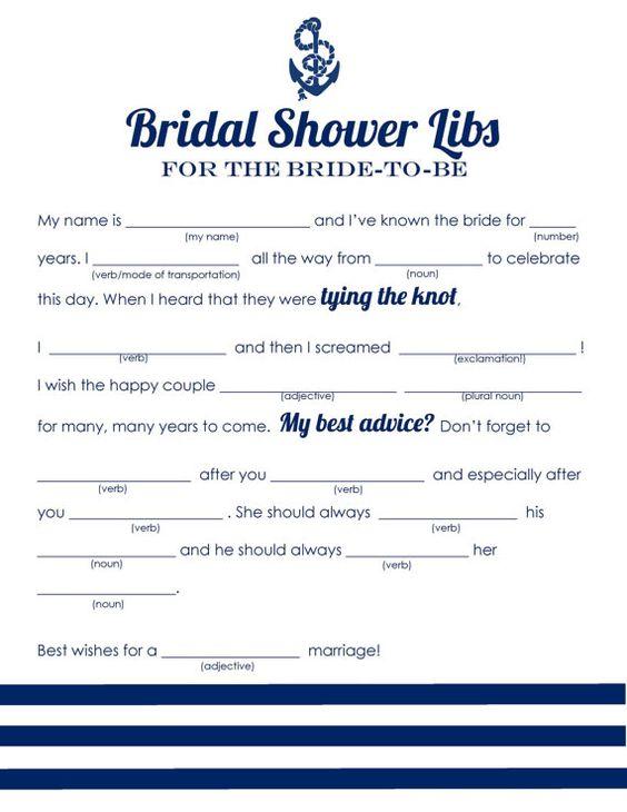 Nautical Bridal Shower Mad Libs | Beagle & Co. Print Shop