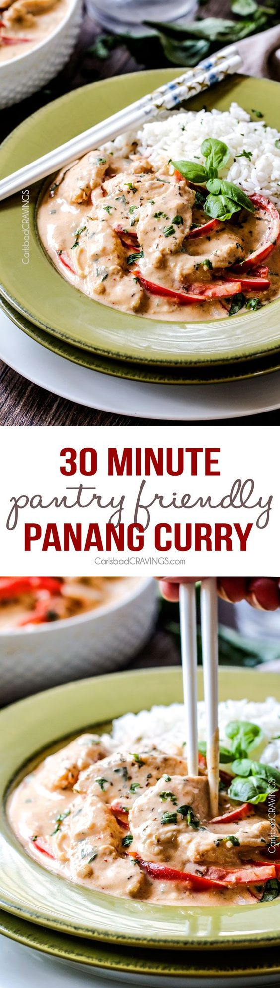 Pantry Friendly quick and easy 30 Minute Chicken Panang Curry tastes better than your favorite restaurant at a fraction of the price with easy to find ingredients!