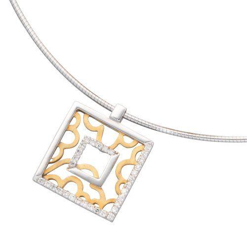 Damen-Collier weiß gelb kombiniert 14 Karat (585) Bicolor 32 Diamant 0.25 ct. 42 cm 23.4 mm Karabinerverschluss Dreambase http://www.amazon.de/dp/B0097PF0SQ/?m=A37R2BYHN7XPNV