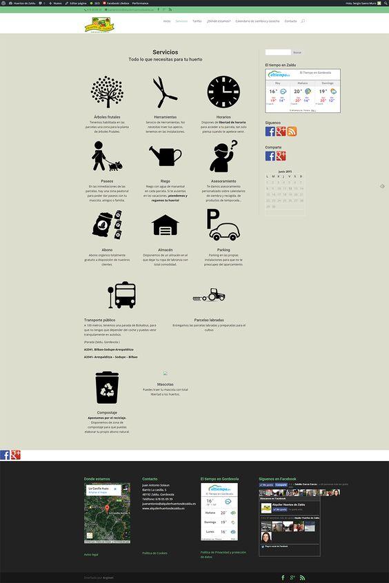 Alquiler de huertos Zaldu. Servicios. Página de servicios de la web http://alquilerhuertosdezaldu.es/ donde podemos observar los servicios que nos ofrece la web.