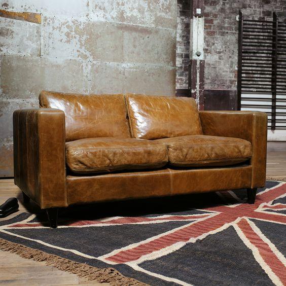 canap 3 places fixe cuir vintage marron henry meuble. Black Bedroom Furniture Sets. Home Design Ideas