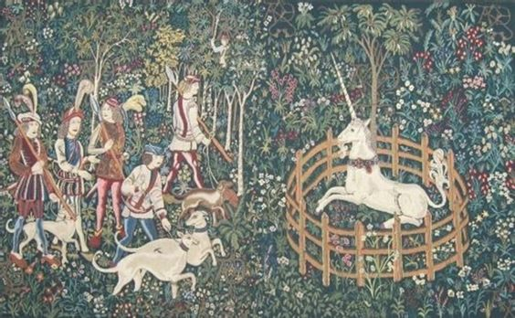 Unicorn Hunt & Capture Belgian Wall Tapestry
