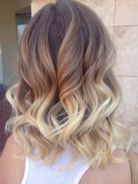 Ombre, Shoulder Length Curly Hairstyles for Women- Brown, Blonde Ombre: