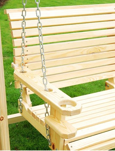 Porch swing with drink holder carpentry pinterest for Log swing plans
