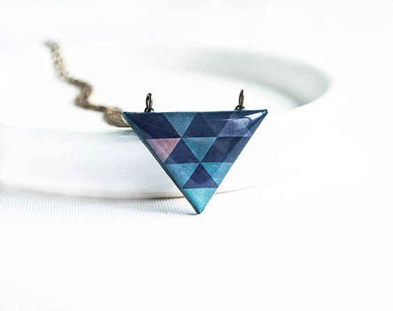 Collana geometrica blu navy, monili, collana di piccolo triangolo