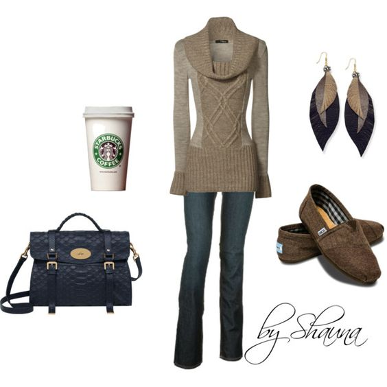 Stone colored cowl neck sweater, created by shauna-rogers on Polyvore. Love the Starbucks accessory!