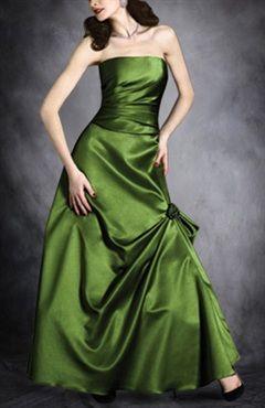 A-line Greens Ruffles Sleeveless Evening Wear - Prom Dresses - OuterInner.com