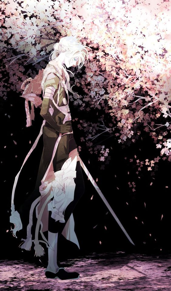 散った桜を眺める刀剣男子