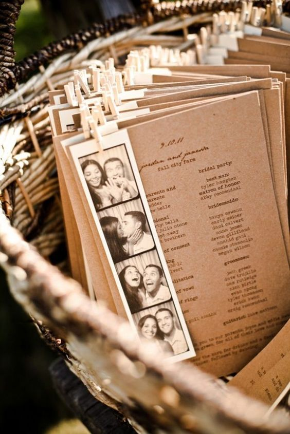 Rustic Wedding Inspiration for Reception - Attached a fun film strip photo to your wedding program: