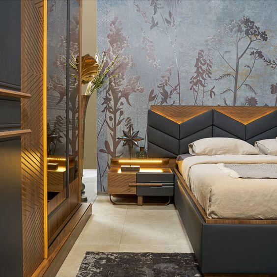 Metal غرفة نوم مودرن Luxury Bedroom Furniture Apartment Bedroom Design Luxury Living Room Design