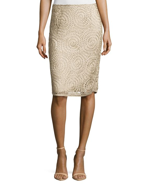 Circle-Pattern Slim Skirt, Khaki
