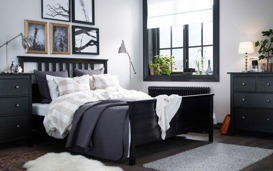 dormitorio de color gris oscuro