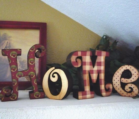 Wooden home letters gingham red pinterest patterns for Living room 7 letters