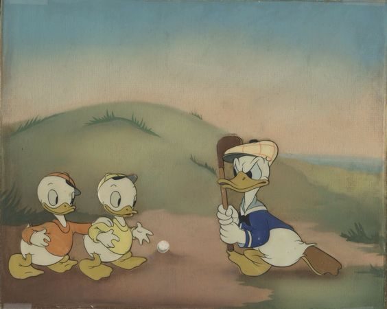 Production Cel Featuring Donald Duck And His Nephews From Donald's Golf Game