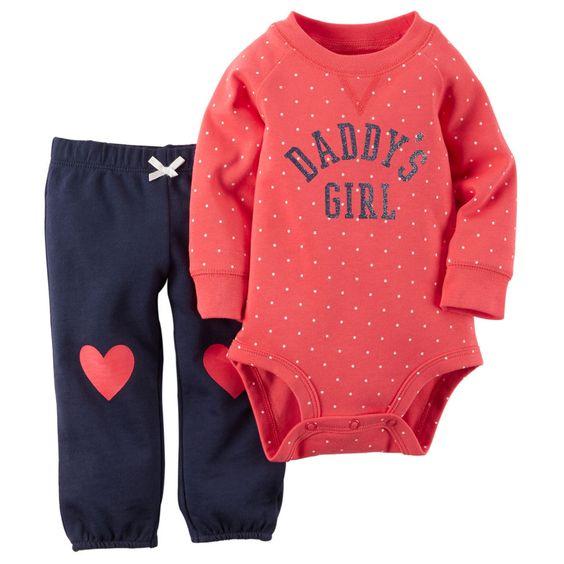 Carters Recién Nacido 3 6 9 12 18 24 Meses Body  Pantalones Conjunto Bebé Niña
