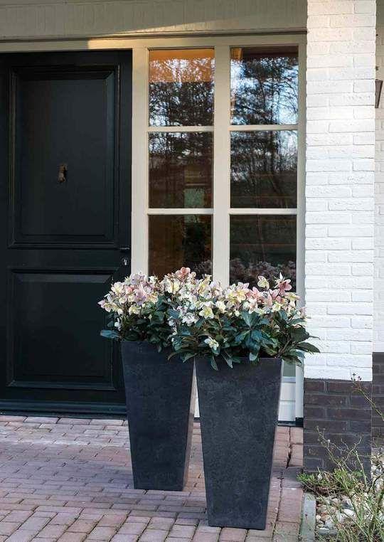 Tall Artstone Planter Vase Black Outdoor Planters Front Door