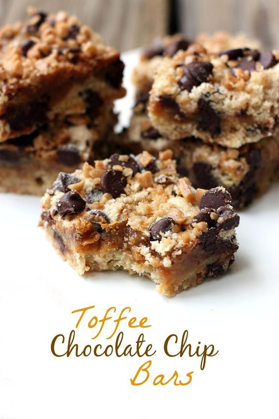 Toffee Chocolate Chip Bars on TastesBetterFromScratch.com #toffee #baking @egglandsbest