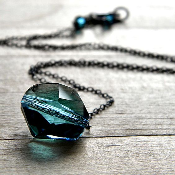 Teal Crystal Necklace Blue Swarovski Indicolite by GlitzGlitter, $37.00
