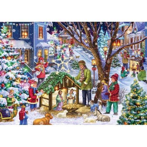 Christmas In Vermont 2021 Neighborhood Nativity Advent Calendar In 2021 Vermont Christmas Company Christmas Jigsaw Puzzles Painting