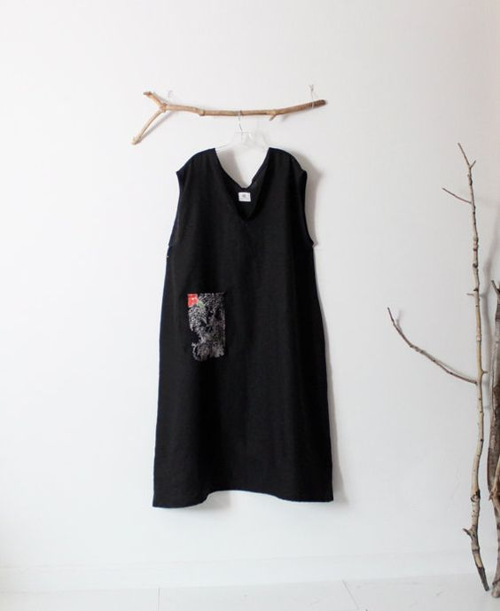 ready to wear plus size black linen deep V by linenclothingbyanny
