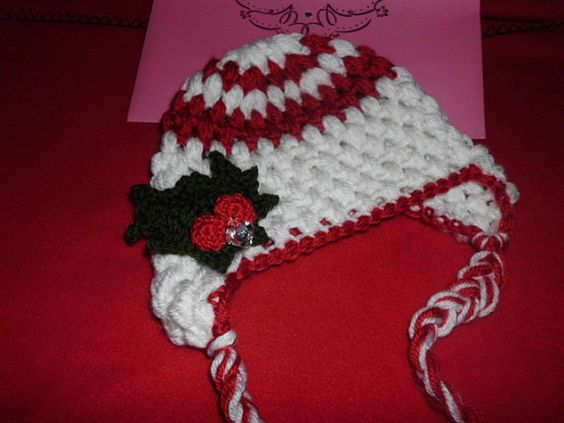 Baby Christmas Holly and Berries Puff by HandcraftLoribelle, $18.00