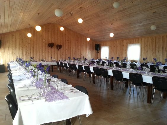 Wedding Table Setting We Set The Tables With Purple Sizoweb Runners And Several Small