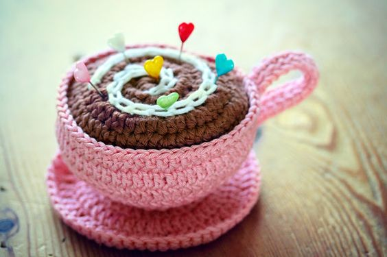Sweet teacup pincushion made by Coco Rose Diaries