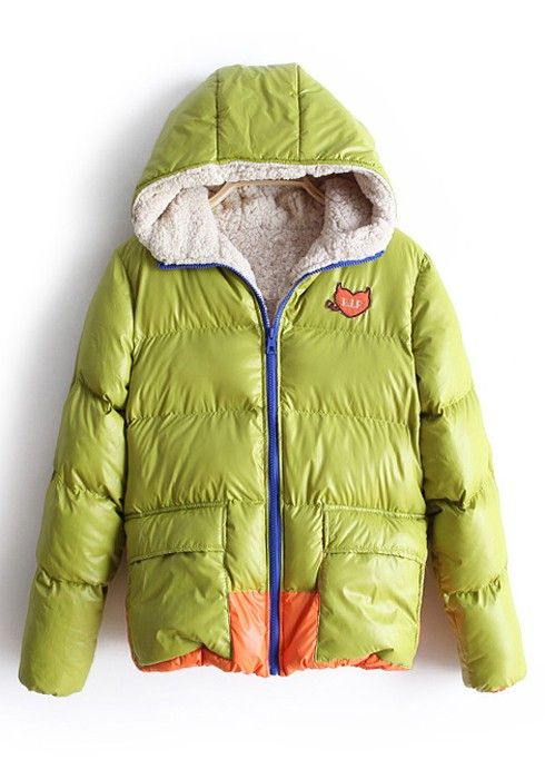 Green Lambswool Lining Hooded Polyester Padded Coat