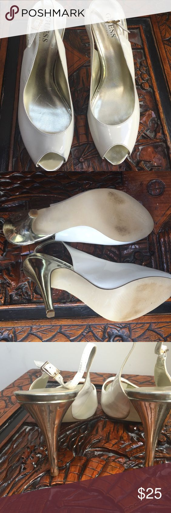 """GUESS HIGH HILL SHOES. Genteelly worn, good condition white shoes with golden 4.5"""" hills small spot in right shoes. 7.5 M Guess by Marciano Shoes Heels"""