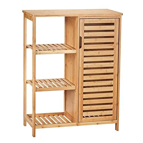 Viagdo Bathroom Storage Cabinets With Doors And 3 Side Shelves