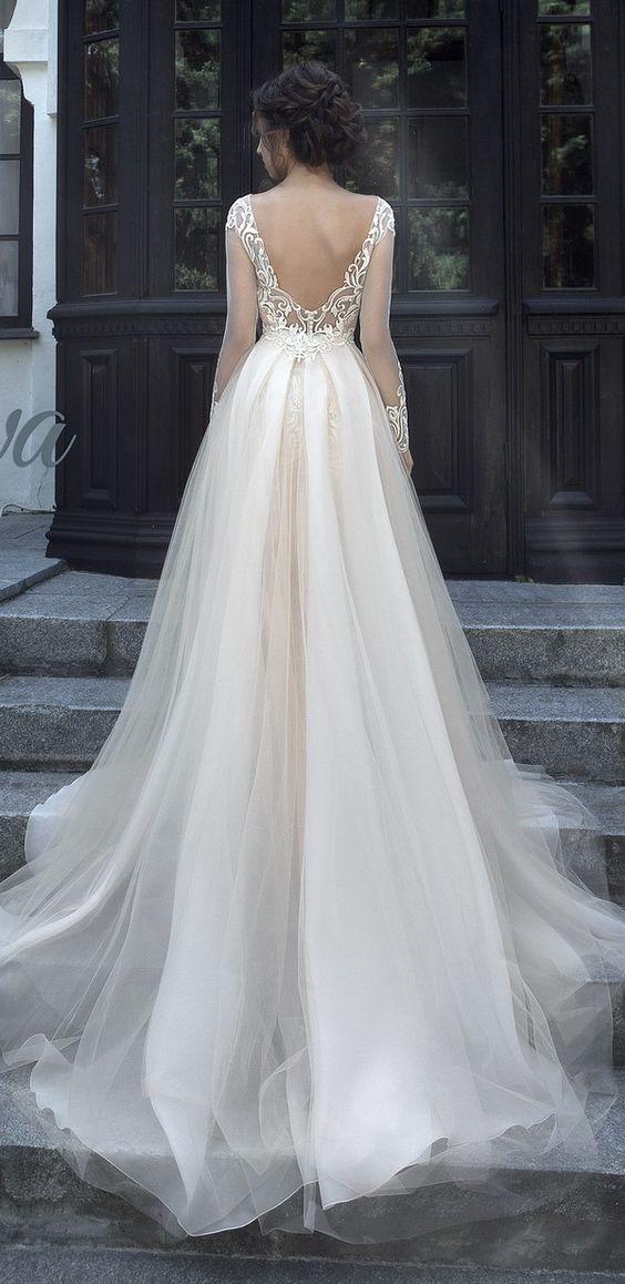 Sheer Long-Sleeve Tulle Ballgown Wedding Dress