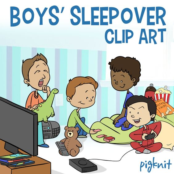 Clip Art Of Guys Sleepover Party 76