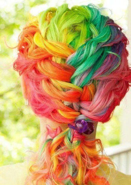 Taste the rainbow!   #multicoloredhair #colorfulhair #coloredhair #beauty - bellashoot.com