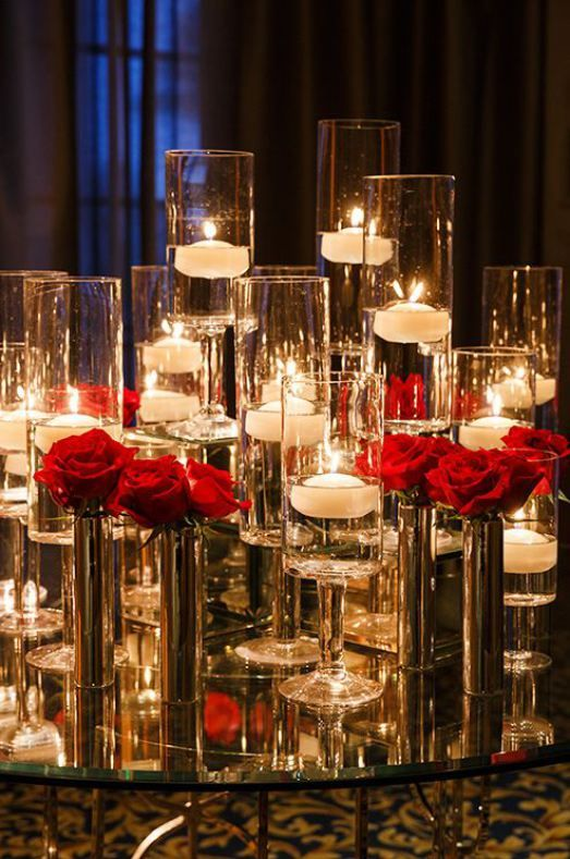 Red centerpieces winter weddings and rose