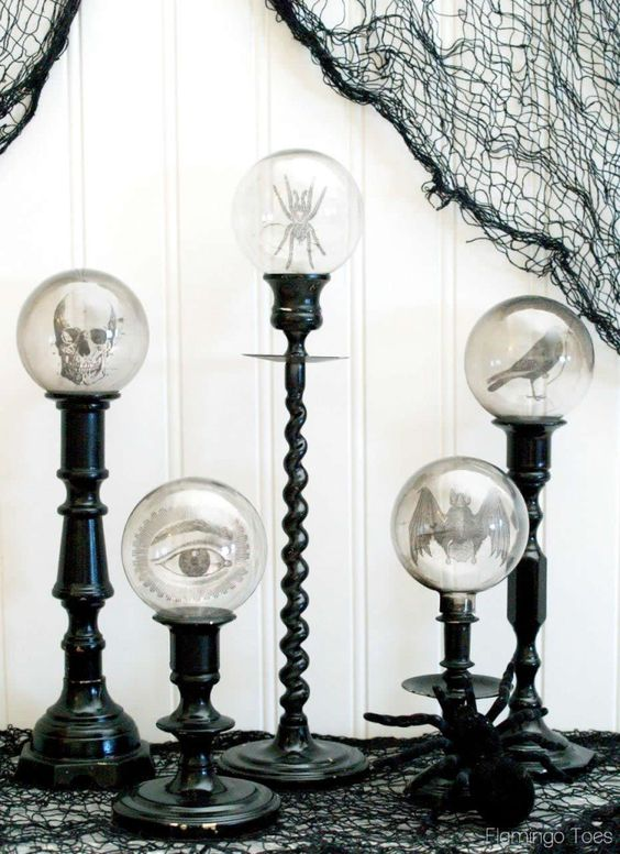 Spooky Crystal Ball Halloween Candlesticks