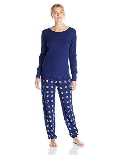 Hue Sleepwear Women's Fox Geo Waffle Knit Pajama Set, Medieval ...
