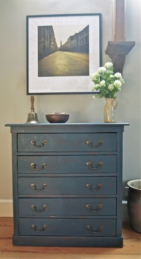 Vintage Retro Chest Of Drawers - Blue