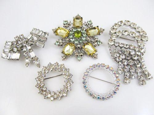 Vintage rhinestone pin collection.