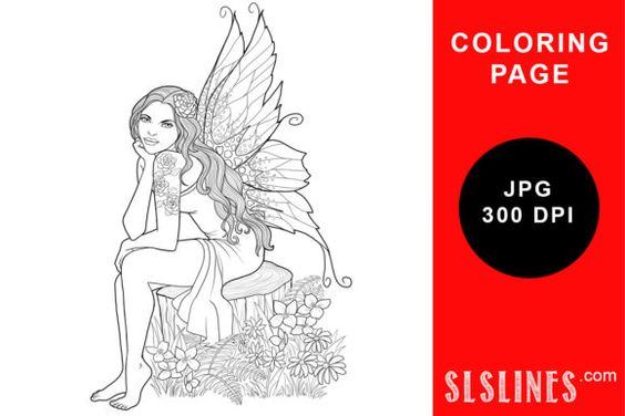 Nature Fairy On Tree Stump Coloring Page Graphic By Sls Lines Creative Fabrica Coloring Pages Poster Design Tutorials Cool Coloring Pages