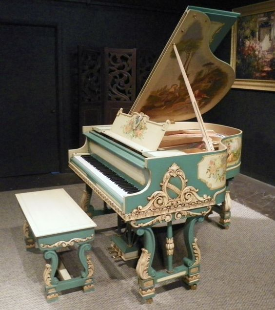 Lauter italian baroque style apartment size baby grand for Size of baby grand piano