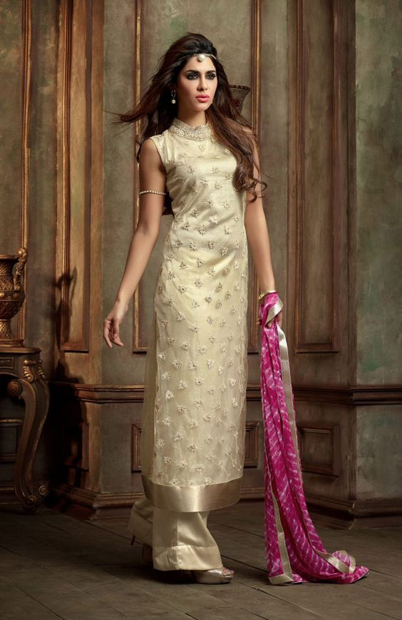 Off White Georgette Kameez With Palazzo Pant 61027 - top ...