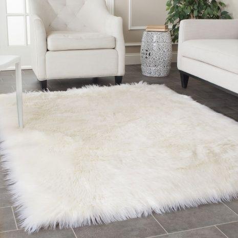 Fuzzy White Rug White Fluffy Rug Faux Sheepskin Rug White Faux Fur Rug