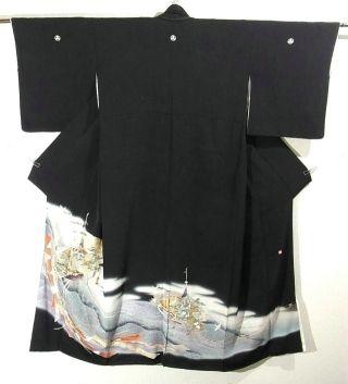 Eye-catching Kurotomesode w/ Tabanenoshi & Gion Cargo Pattern