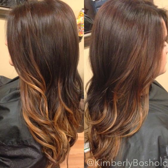 Dark chocolate brown base with carmel balayage highlights. hairbykimberlyboshold