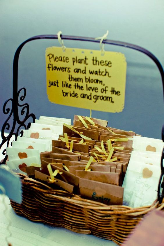 Could put sunflower seeds in brown paper bags. Basket full of promise. See more seed packet wedding favors and party ideas at www.one-stop-party-ideas.com
