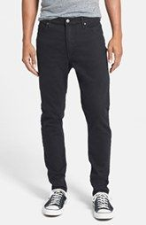 Cheap Monday 'Dropped' Slouchy Slim Fit Jeans (New Black)