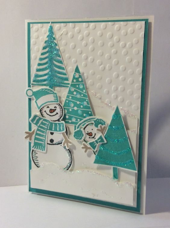 Here I am! Stampin' Up! Snow Friends, Snow Place, Bermuda Bay, Dotty Embossing Folder and Dazzling Details. Festival of Trees and Tree punch. Cute Christmas card.
