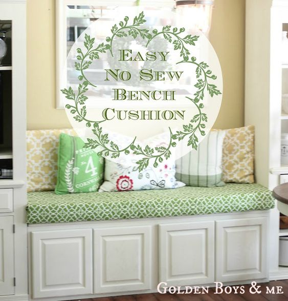 Easy no sew bench cushion using safety pins and curtain panel via www.goldenboysandme.com